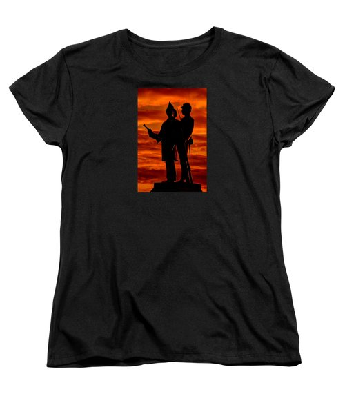 Sky Fire - 73rd Ny Infantry Fourth Excelsior Second Fire Zouaves-b1 Sunrise Autumn Gettysburg Women's T-Shirt (Standard Cut) by Michael Mazaika