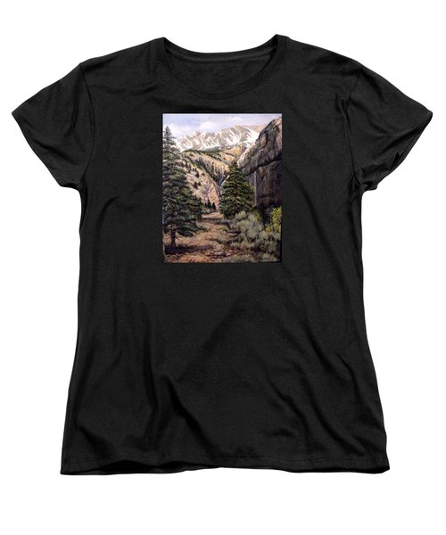 Women's T-Shirt (Standard Cut) featuring the painting Sleeping Faces In The Rock by Donna Tucker