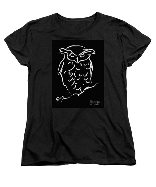 Sleepy Owl Women's T-Shirt (Standard Cut) by Go Van Kampen