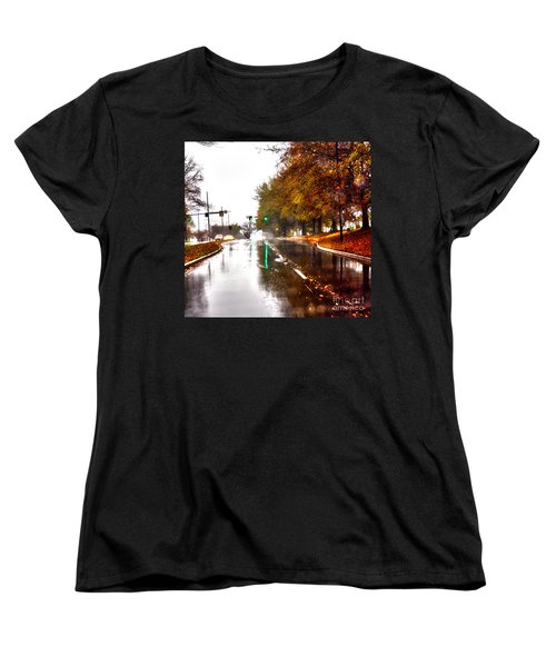 Women's T-Shirt (Standard Cut) featuring the photograph Slick Streets Rainy View by Lesa Fine