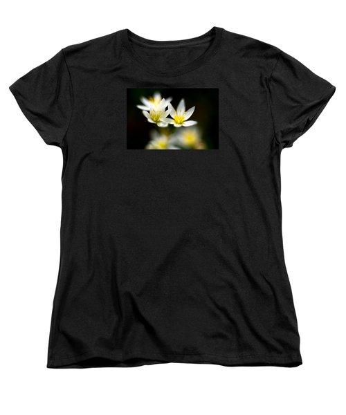 Small White Flowers Women's T-Shirt (Standard Cut) by Darryl Dalton