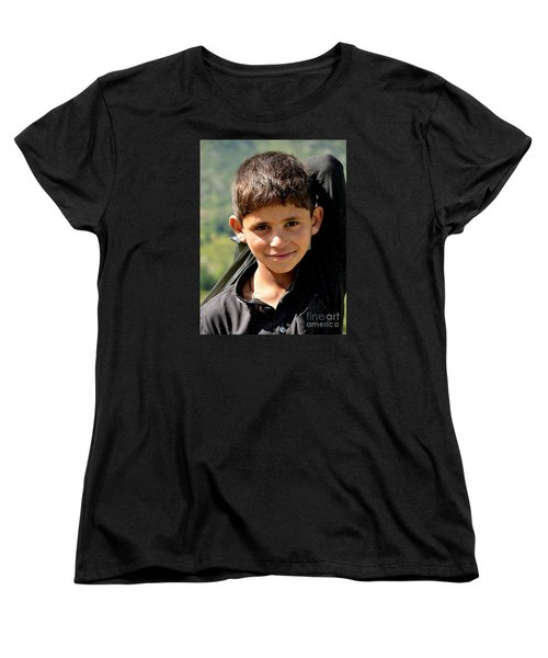 Women's T-Shirt (Standard Cut) featuring the photograph Smiling Boy In The Swat Valley - Pakistan by Imran Ahmed