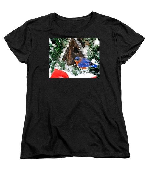 Snow Bluebird Christmas Card Women's T-Shirt (Standard Cut) by Nava Thompson