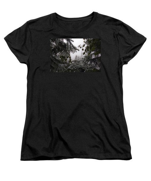 Women's T-Shirt (Standard Cut) featuring the photograph Snow In Trees At Narada Falls by Greg Reed
