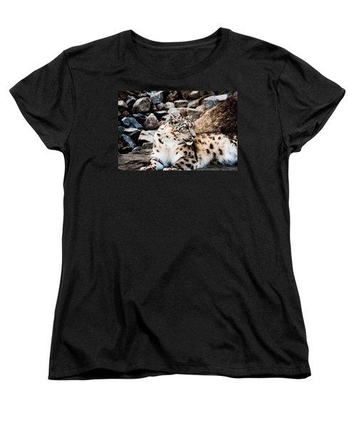 Snow Leopard Women's T-Shirt (Standard Cut) by Daniel Precht