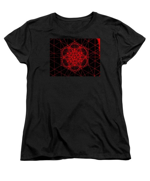 Women's T-Shirt (Standard Cut) featuring the drawing Snowflake Shape Comes From Frequency And Mass by Jason Padgett