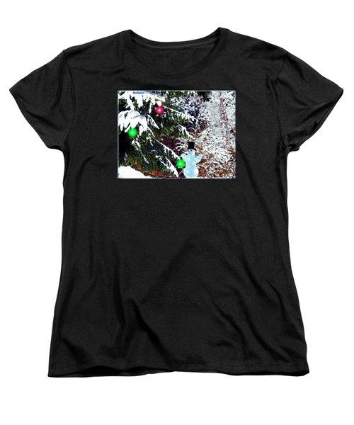 Women's T-Shirt (Standard Cut) featuring the digital art Snowman by Daniel Janda