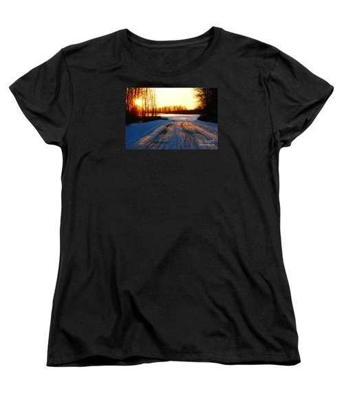 Women's T-Shirt (Standard Cut) featuring the photograph Snowy Anchorage Sunset by Cynthia Lagoudakis