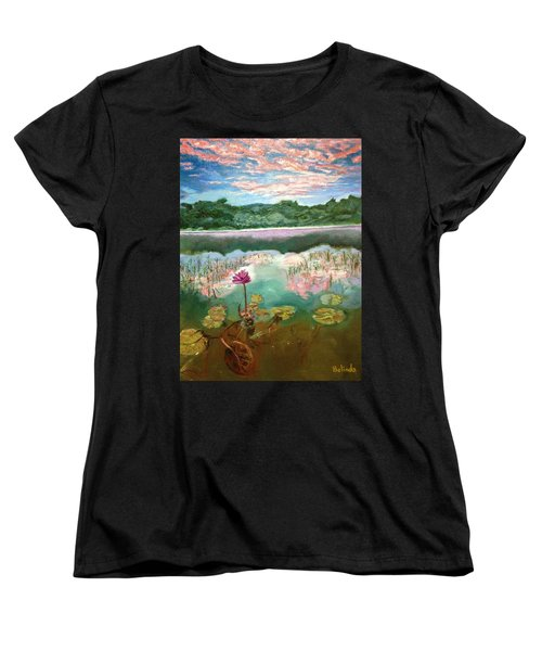 Women's T-Shirt (Standard Cut) featuring the painting Solitary Bloom by Belinda Low