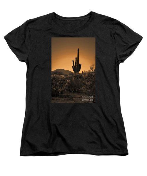 Solitary Saguaro Women's T-Shirt (Standard Cut) by Deb Halloran