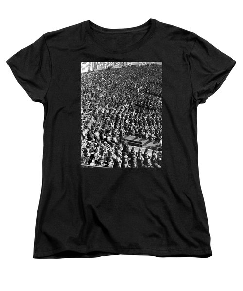 Baseball Fans At Yankee Stadium In New York   Women's T-Shirt (Standard Cut) by Underwood Archives