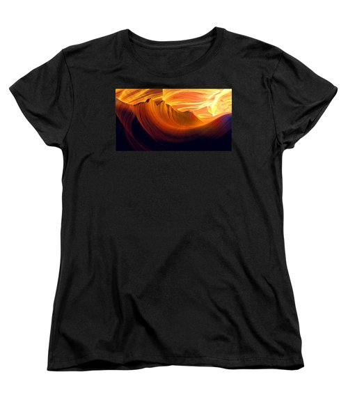 Women's T-Shirt (Standard Cut) featuring the photograph Somewhere In America Series - Golden Yellow Light In Antelope Canyon by Lilia D