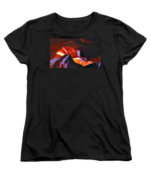 Women's T-Shirt (Standard Cut) featuring the photograph Somewhere In Waves In Antelope Canyon by Lilia D