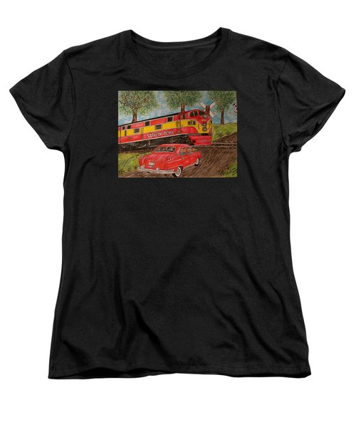 Southern Pacific Train 1951 Kaiser Frazer Car Rr Crossing Women's T-Shirt (Standard Cut) by Kathy Marrs Chandler