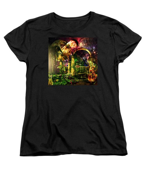 Women's T-Shirt (Standard Cut) featuring the mixed media Space Garden by Ally  White