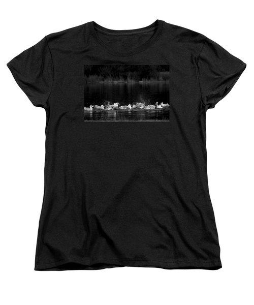 Women's T-Shirt (Standard Cut) featuring the photograph Splashing Seagulls by Yulia Kazansky