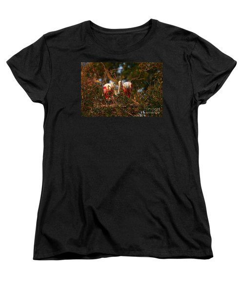 Women's T-Shirt (Standard Cut) featuring the photograph Spoonbill Love Nest by John F Tsumas