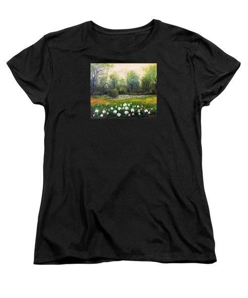 Women's T-Shirt (Standard Cut) featuring the painting Spring by Vesna Martinjak
