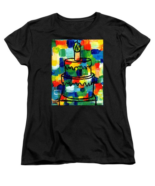Stl250 Birthday Cake Abstract Women's T-Shirt (Standard Cut) by Genevieve Esson