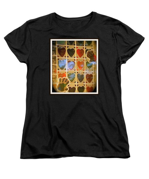 Stained Glass Hands And Hearts Women's T-Shirt (Standard Cut) by Kathy Barney
