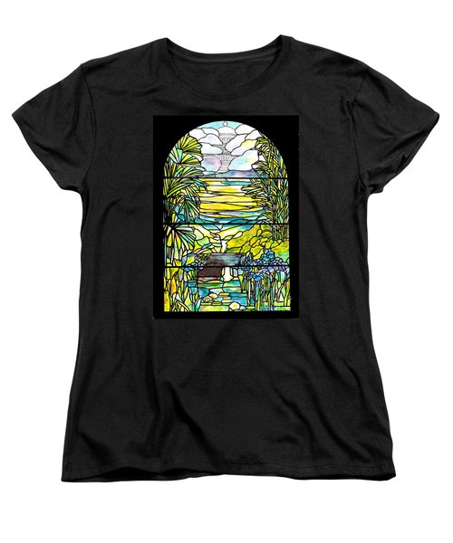 Stained Glass Tiffany Holy City Memorial Window Women's T-Shirt (Standard Cut) by Donna Walsh