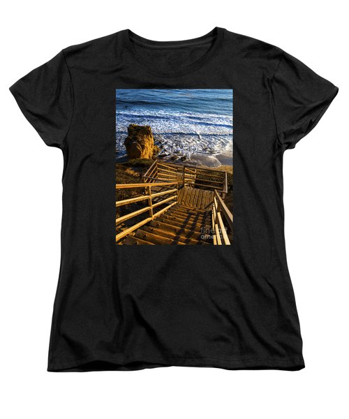 Women's T-Shirt (Standard Cut) featuring the photograph Steps To Blue Ocean And Rocky Beach by Jerry Cowart