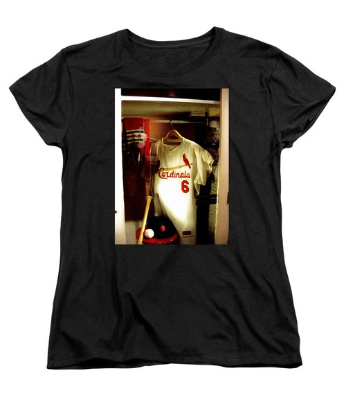 Women's T-Shirt (Standard Cut) featuring the photograph Stan The Man's Locker Stan Musial by Iconic Images Art Gallery David Pucciarelli
