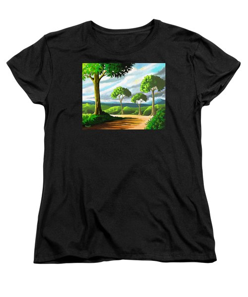 Women's T-Shirt (Standard Cut) featuring the painting Standing Tall by Anthony Mwangi