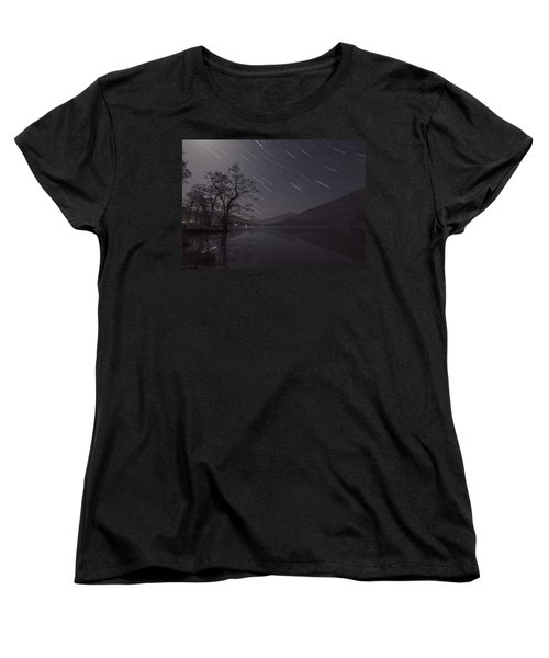 Star Trails Over Lake Women's T-Shirt (Standard Cut) by Beverly Cash