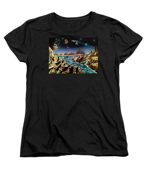 Women's T-Shirt (Standard Cut) featuring the painting Star Trek - Orbiting Planet by Michael Rucker