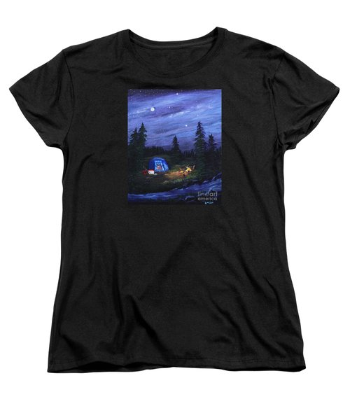 Women's T-Shirt (Standard Cut) featuring the painting Starry Night Campers Delight by Myrna Walsh