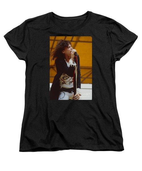 Steven Tyler Of Aerosmith At Monsters Of Rock In Oakland Ca Women's T-Shirt (Standard Cut) by Daniel Larsen