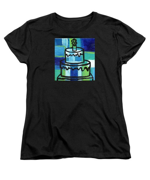 Stl250 Birthday Cake Blue And Green Small Abstract Women's T-Shirt (Standard Cut)