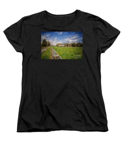 Stone Barn On A Spring Morning Women's T-Shirt (Standard Cut) by Lois Bryan