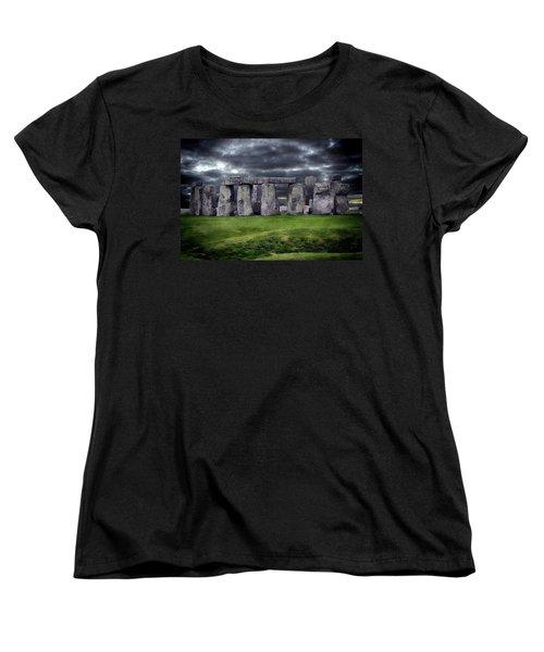 Storm Clouds Over Stonehenge Women's T-Shirt (Standard Cut) by Anthony Dezenzio
