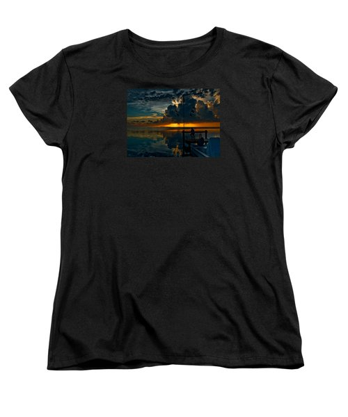 Sunset Tropical Storm And Watcher In Florida Keys Women's T-Shirt (Standard Cut)