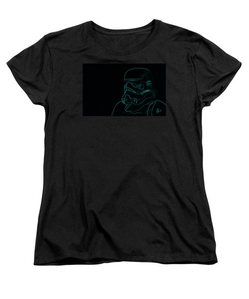 Women's T-Shirt (Standard Cut) featuring the digital art Stormtrooper In Teal by Chris Thomas