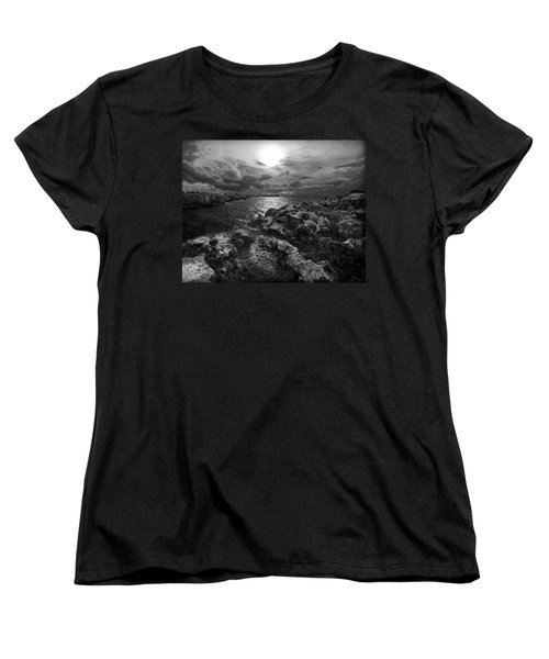 Blank And White Stormy Mediterranean Sunrise In Contrast With Black Rocks And Cliffs In Menorca  Women's T-Shirt (Standard Cut) by Pedro Cardona