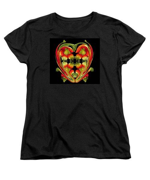 Strawberry Heart Women's T-Shirt (Standard Cut) by David Pantuso