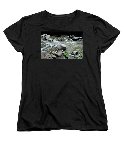 Women's T-Shirt (Standard Cut) featuring the photograph Stream Water Foams And Rushes Past Boulders by Imran Ahmed