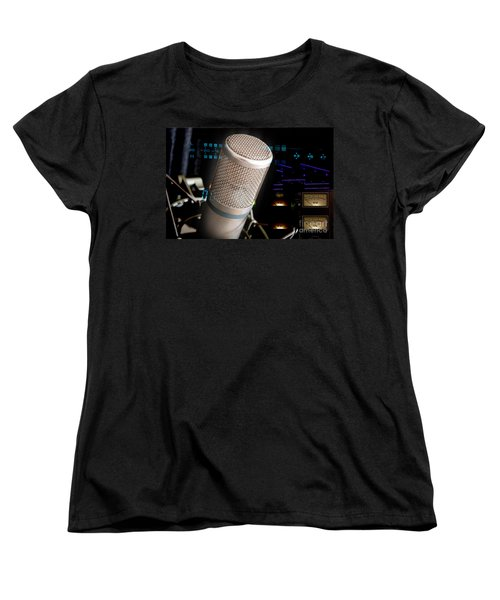 Women's T-Shirt (Standard Cut) featuring the photograph Studio Microphone And Recording Gear by Gunter Nezhoda