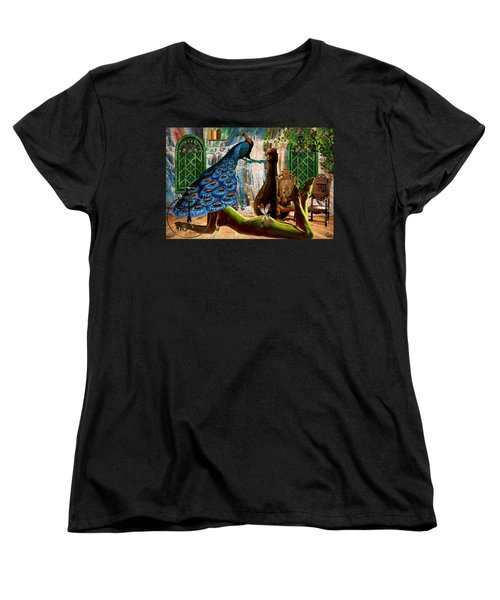 Women's T-Shirt (Standard Cut) featuring the painting Suck My Peacock by Ally  White