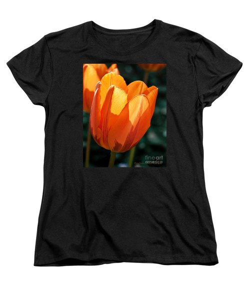 Women's T-Shirt (Standard Cut) featuring the photograph Sun Kissed Tulip by Barbara McMahon