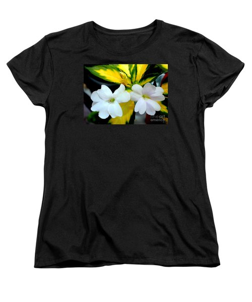 Sun Patiens Spreading White Variagated Women's T-Shirt (Standard Cut) by Kathy  White
