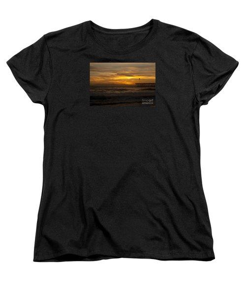 Sun Setting Behind Santa Cruz With Ventura Pier 01-10-2010 Women's T-Shirt (Standard Cut) by Ian Donley