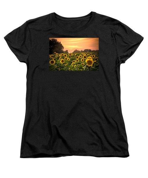 Women's T-Shirt (Standard Cut) featuring the photograph Sunflower Sunset by Steven Bateson