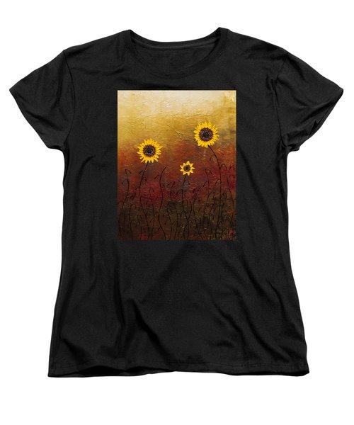 Sunflowers 2 Women's T-Shirt (Standard Cut) by Carmen Guedez