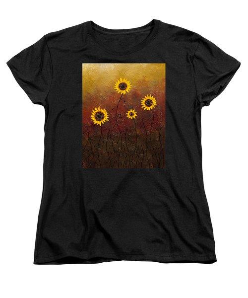 Sunflowers 3 Women's T-Shirt (Standard Cut) by Carmen Guedez