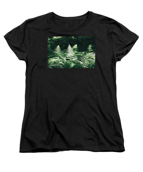 Women's T-Shirt (Standard Cut) featuring the photograph Sunlight And Shadows-algonquin Ferns by David Porteus