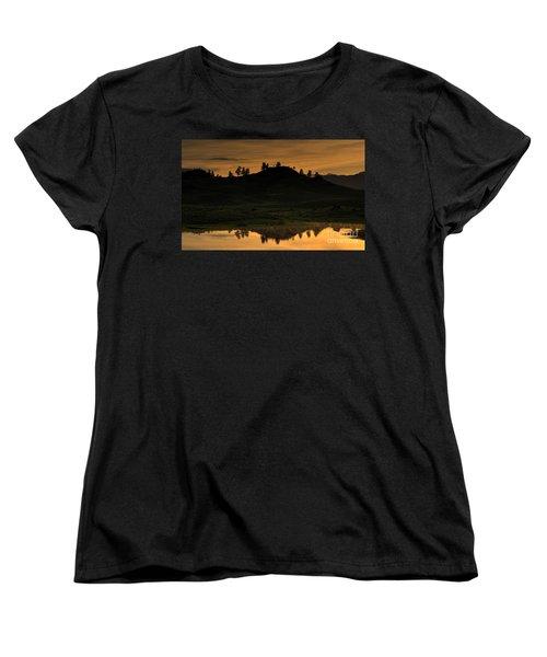 Women's T-Shirt (Standard Cut) featuring the photograph Sunrise Behind A Yellowstone Ridge by Bill Gabbert